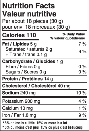 Marbled Biltong Nutritional facts